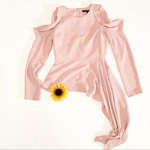 NWT BCBGMaxAzria cold shoulder blouse tea rose XS